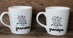 Promoted to Grandma and Grandpa coffee mug SET-Hand painted-16 oz.-Grandparents Gift-New Baby by MorningSunshineShop on Etsy