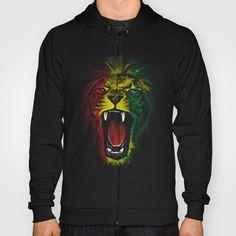 Rasta Roar HOODY UNISEX ZIP BLACK SMALL FRONT PRINT ZIP #rastafarai #mashup #wild #animals #cool #tiger #lion #rasta