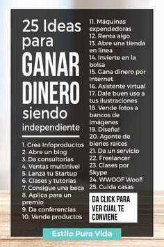 25 Ideas para Ganar Dinero Siendo Independiente work from home,work from home tips,work from home jo Personal Branding, Personal Finance, Business Tips, Online Business, Business Coaching, Business Opportunities, Content Manager, Bussines Ideas, Little Bit