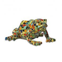 Multi Coloured Harlequin Mosaic Resin Garden Frog Ornament