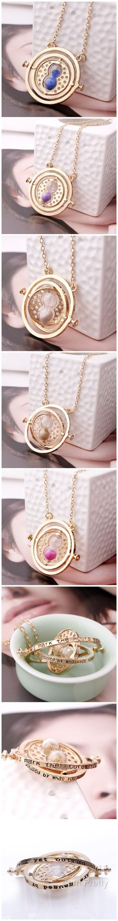 $2.65 1Pc Sand Glass Pendant Necklace Styliah Time Turner English Words Metal Chain Short Necklace - BornPrettyStore.com GET 10% OFF WITH THIS CODE: SCT10