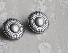 6 Vintage Metal Shank Buttons Silver Tone by CosmosCoolSupplies, $4.35