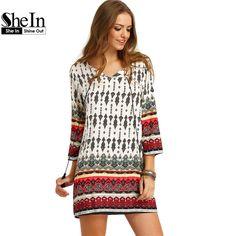SheIn Women Bohemian Dress Summer Casual Long Sleeve Split Tie Neck Lacing Tribal Print Vintage Straight Short Dresses