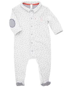 Baby White Star Print Sleepsuit with Elbow Patches, Petit Bateau. Liberty.co.uk