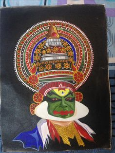 Kathakali painting by Navya Prakash Black Canvas Paintings, Indian Paintings, Canvas Art, Venom Spiderman, Happy Onam, Kerala Mural Painting, Mandala Artwork, Indian Folk Art, Buddha Art