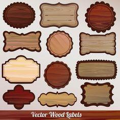 set of wooden plaques labels vector