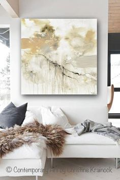 """Art, Abstract Painting, """"Leap of Faith"""" Giclee Print / Canvas Print of Original Fine Art. Modern, Large Art, Wall Art, Contemporary Coastal, Home Decor. Palette Living room home canvas art neutral earthy shades of grey, taupe, beige, """"greige"""", black & white. Natural colors which come together exhibiting a marbleized stone organic feel. By Contemporary Artist, Christine Krainock"""
