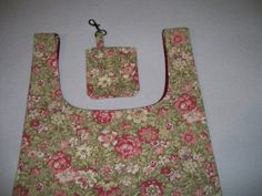 Reusable Grocery Shopping Bag, with Detachable Pouch - All Cotton Canvas Pink and Green Floral Print - With Wine-Colored Cotton Lining.