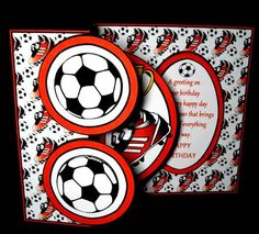 Fold back pop up Soccer red  on Craftsuprint designed by Carol Dunne - made by Dianne Jackson - I printed onto 250 gram smooth card and cut scored and folded the card base. I printed out the toppers twice to decoupage the inner layers for added depth. I added the toppers and decoupaged using sticky pads. This is quick, simple and very effective - Now available for download!