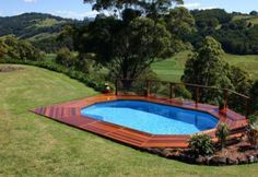 Above Ground Pool with Deck  http://www.arthurspools.com/abovegroundpools/deck235a.jpg                                                                                                                                                     More