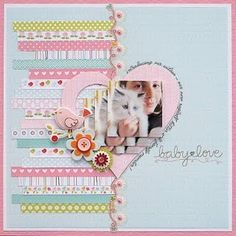 #papercraft #scrapbook #layout      I like the different paper scraps on one side of a split page