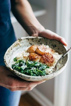 Brown Butter Scallops with Parmesan Risotto and Garlic Spinach - a cozy, romantic recipe that feels like a fancy restaurant meal at home! | pinchofyum.com