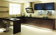 Simple L shape kitchen with a small bar_VC Cucine China, kitchen Solid Wood Kitchen Cabinets, Kitchen Cabinets For Sale, Solid Wood Kitchens, Kitchen Cabinet Styles, Small L Shaped Kitchens, L Shaped Kitchen Designs, Bar Furniture, Kitchen Furniture, Furniture Outlet
