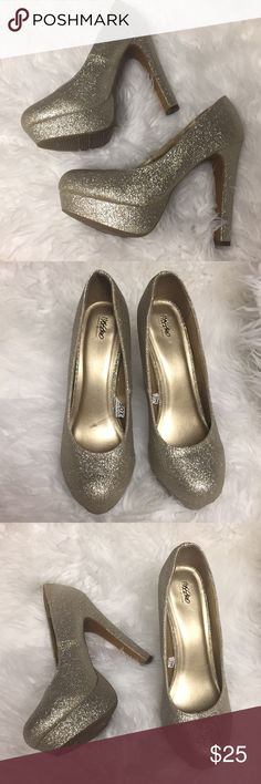 Gold Glitter Platform Heels Gold glitter platform high heels. Only worn once. So sparkly and eye-catching, perfect for New Year's Eve or any special occasion or party! Missoni for Target Shoes Heels