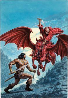 Bob Larkin Savage Sword of Conan #206 Cover Painting Original Art | Lot #92117 | Heritage Auctions
