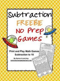 Welcome to my Freebies Page! Please enjoy these freebies from my Teachers Pay Teachers Store Games 4 Learning On this page. Daily 5 Math, Subtraction Games, Second Grade Math, Grade 2, Math Groups, Cycle 2, Math Stations, Math Centers, Homeschool Math