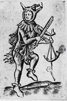 """""""op de kaak spelen"""" playing on the jawbone -- late ?Flemish woodcut, forget where it is, though -- I'll have to get back to you! Medieval Manuscript, Illuminated Manuscript, Medieval Jester, Medieval Drawings, Joker Playing Card, Clown Tattoo, Old Maps, The Fool, Character Design"""