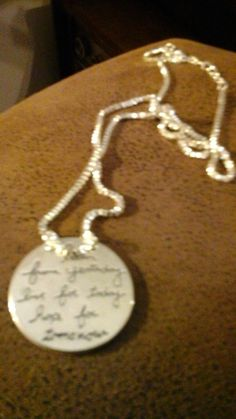 Inspirational  Silver reversable necklace   11 inches long