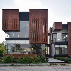 Maziar Brick House / Naghshe Khak Architectural Group Completed in 2017 in Royan Iran. Images by Vahid Joudi. The project is located on an area of 250 square meters in a coastal complex with different owners and vacant lands in the city of Royan. Design Exterior, Brick Design, Facade Design, Brick Facade, Facade House, House Exteriors, Brick Architecture, Contemporary Architecture, Contemporary Houses