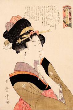 • Kitagawa Utamaro - La ragazza precoce (Ochappii), dalla serie Varietà di fiori secondo il loro linguaggio (1802). Palazzo Reale, Milano.