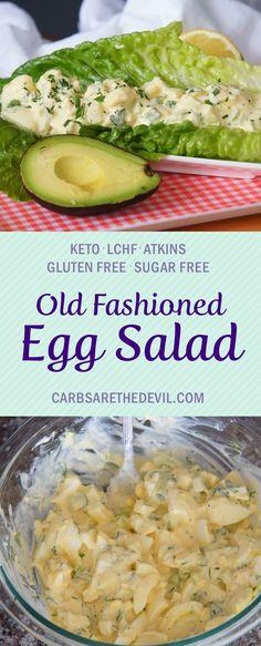 Keto Egg Salad Keto Egg Salad, Low Carb Egg Salad Recipe, Egg Salad Recipes, Atkins Recipes, Ketogenic Recipes, Low Carb Recipes, Diabetic Recipes, Ketosis Diet, Ketogenic Diet