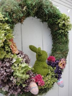 Easter Bunny Wreath   Moss Wreath   by donnahubbard