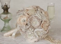 This bouquet would be the perfect compliment to a vintage inspired wedding. This beautiful bouquet is made of over 45 individual pieces, Lace Bouquet, Fabric Bouquet, Wedding Brooch Bouquets, Flower Bouquet Wedding, Fabric Flowers, Small Wedding Bouquets, Vintage Wedding Flowers, Small Bouquet, Fleurs Style Shabby Chic