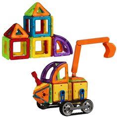 Best Choice Products Kids 78-Piece Multi Colors Magnetic Blocks Tiles Educational STEM Toy Excavator Building Set