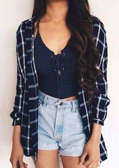 summer outfits Black Printed Shirt + Black Top + Bleached Short