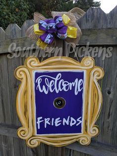 Welcome Friends (TV Show) Peephole Frame Door Hanger Welcome Signs Front Door, Front Door Decor, Friends Tv Show, Friends Trivia, Burlap Door Hangers, Wood Cutouts, Painted Doors, Diy Wreath, Door Design