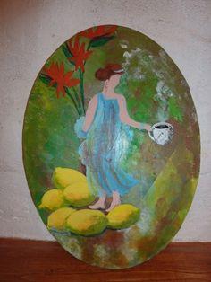Rêve d'Italie, portrait de femme du monde, acrylique sur toile. citron et café