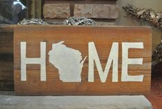 Home Wisconsin Rustic Barn Board Sign by KACountryDecor on Etsy