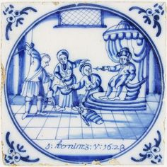 The Judgement of Solomon is one of the most intriguing scenes in the Bible. It is depicted on this wonderful 18th century antique Delft tile in blue.