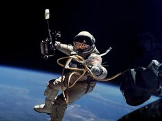 During the Gemini 4 mission on June 3, 1965, Ed White became the first American to conduct a spacewalk. The spacewalk started at 3:45 p.m. EDT on the third orbit when White opened the hatch and used the hand-held manuevering oxygen-jet gun to push himself out of the capsule.