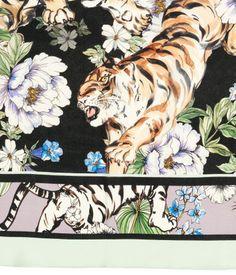 Kuviollinen silkkihuivi | Liila/Tiikerit | Naiset | H&M FI