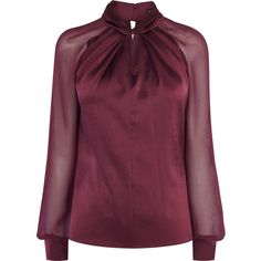 KNOT-NECK TOP featuring polyvore women's fashion clothing tops blouses shirts transparent shirt purple shirt long sleeve blouse knotted shirt sheer long sleeve blouse