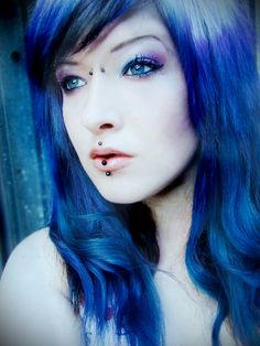 blue purple and white hair