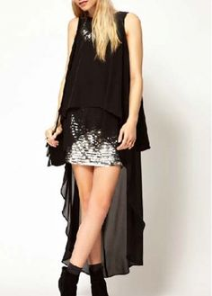 Chic Sleeveless Black Tees with High Low Hem on sale only US$16.32 now, buy cheap Chic Sleeveless Black Tees with High Low Hem at martofchina.com