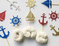 Nautical Cupcake Toppers Sailing Birthday Decor Sail Boat