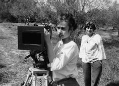 "Director Agnes Varda in the background and Sandrine Bonnaire on the set of ""Sans Toit Ni Loi"", 1985 (Vagabond)"