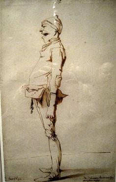 """François-André Vincent, Caricature of the Artist's Younger Brother Marie-Alexandre-François, with caption, """"Fr. Alexandre Vincent dans son / plus galant négligé"""" Met Museum"""