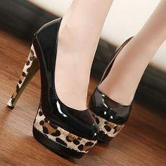 Leopard high heel pumps women summer shoes XD-MZ9023 black