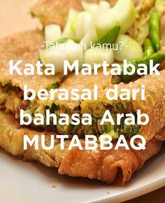Kata Martabak berasal dari bahasa Arab; Mutabbaq.   #FoodXploration #BerkahBanget Baked Potato, Chelsea, Cooking Recipes, Snacks, Drink, Baking, Ethnic Recipes, Projects, Food