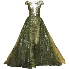 zuhair-murad edited by metalheavy ❤ liked on Polyvore featuring dresses, gowns, long dresses, vestidos longos, zuhair murad, green ball gown, green gown, murad and green color dress