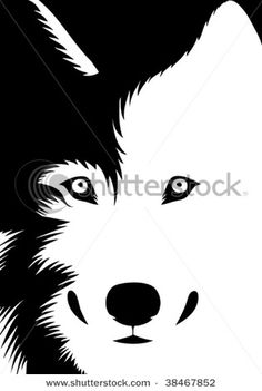 picture of a wolf in black and white in a vector clip art illustration