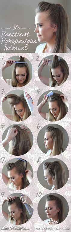 Easy Pompadour Hair Tutorial. Cute medium to long hairstyle. Quite a simple idea but it adds some extra excitement to an everyday look!
