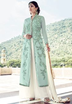 Buy Embroidered Georgette Pakistani Suit in Pastel Blue online,Item code: KEJ611, Occasion: Party, Work: Resham, Traditional, Zari, Fabric: Georgette, Gender: Women