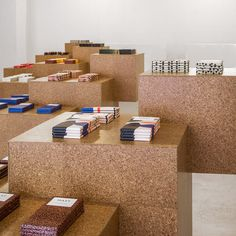 Displaying chocolate as art on plinths. Mast Brothers Pop-up at Austere in Los Angeles
