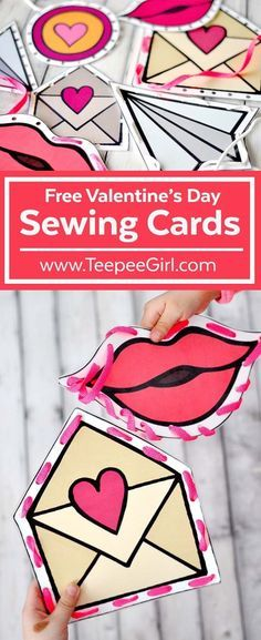 These free Valentine's Day sewing cards are fun for kids of all ages! They will have fun while using their fine motor skills. Use these for parties, play-dates, and quiet afternoons at home! http://www.TeepeeGirl.com