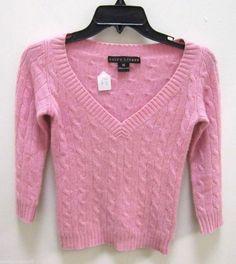 RALPH LAUREN Light Pink Knit Cashmere V Neck Sweater Size XS EUC BLACK LABEL #RalphLaurenBlackLabel #VNeck